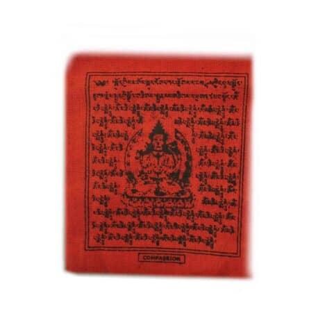 Drapeaux de prières bouddhistes tibétains - (0) Coton - Noir - 2353 - Rouge Compassion