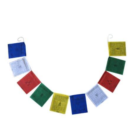 Drapeaux de prières bouddhistes tibétains - (B) Coton - Noir - 4066 Ouvert