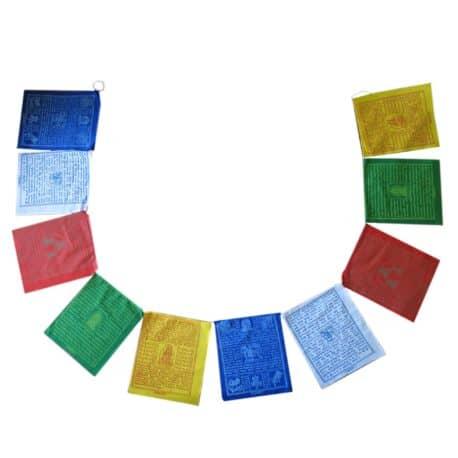 Drapeaux de prières bouddhistes tibétains - (D) Coton - Couleur - 4076 Ouvert