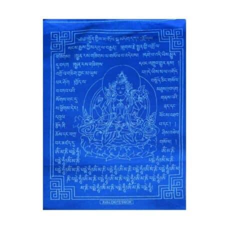 (C)-Avalokiteshvara-4084-5-Bleu-Drapeaux-de-prières-bouddhistes-tibétains