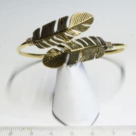 Plume amérindienne double - Bracelet en Laiton - N°6631