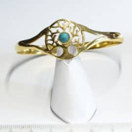 Arbre de vie et turquoise (Synt) - Bracelet en Laiton - N°6652