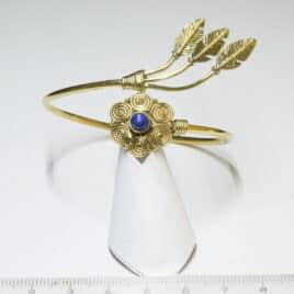 Lapis-lazuli, fleur et plume amérindienne - Bracelet en Laiton - N°6658