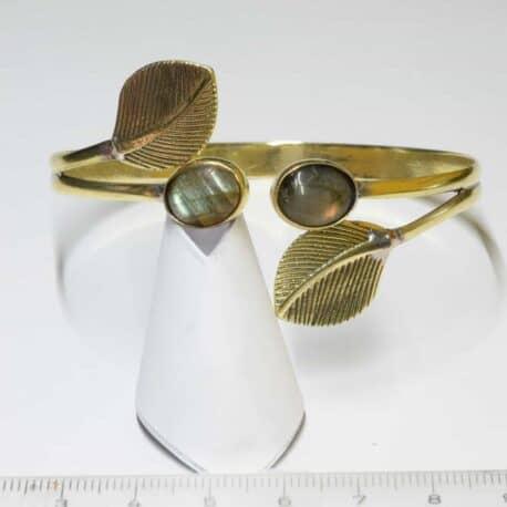 Labradorite et feuilles double - Bracelet en Laiton - N°6894