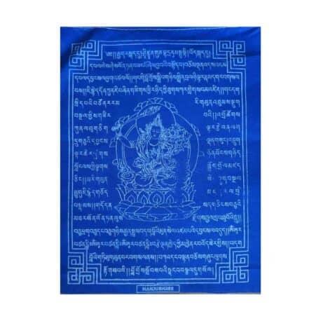 (C)-Manjushree-4083-5-Bleu-Drapeaux-de-prières-bouddhistes-tibétains