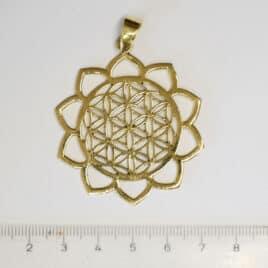 Fleur de vie et Lotus - Pendentif en Laiton - N°6752