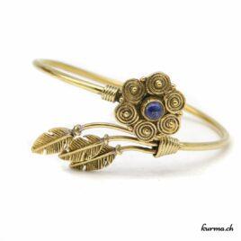 Lapis-lazuli, fleur et plume amérindienne – Bracelet en Laiton – N°6658