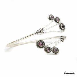 Bracelet en Laiton Argenté 6 Améthyste- N°6635
