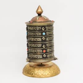 Moulin à prières tibétain table – 18x10x10cm – N°3779.1