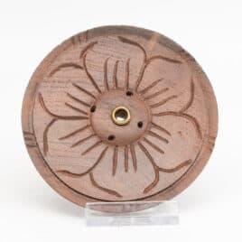 Porte-encens en bois – Lotus foncé – 9cm N°4673.1