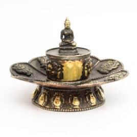 Porte-encens en métal – Bouddha sur Lotus – 10cm – N°3917.1