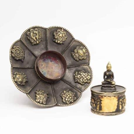 Porte-encens-en-métal-lotus-N°3917.1-111gr-7,5×10,5×10,5cm-4
