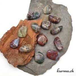"""Agate Mousse Multicolore """"Foudre rouge"""" – Pierre roulée 2.5cm à 3.5cm – N°5979.1"""