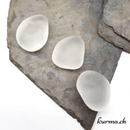 Quartz Cristal de roche Mat – Pierre roulée 3.5cm à 5cm – N°6969.1