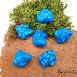 """Magnésite Bleue """"Turquénite"""" – Pierre roulée 3cm à 3.5cm – N°6957.1"""