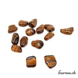 Oeil-de-Tigre avec >Minerai de fer – Pierre roulée 3.5cm à 4.5cm – N°8684.1