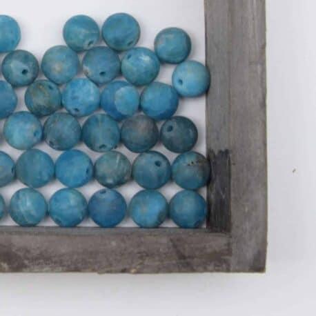 perles apatite bleue mate 8mm