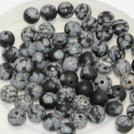Obsidienne flocon de neige Mate – Perles 6.5-7mm – 59pcs – N°7659
