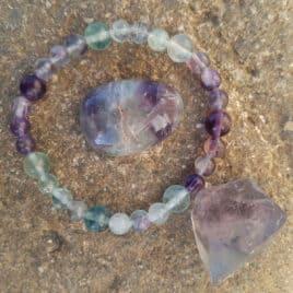 Bracelet Fluorite verte et violette (Br.0021)