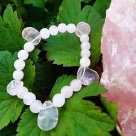 """Bracelet Quartz rose """"pétales"""" (Br.0013)"""