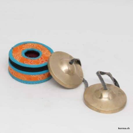 Tingsha de 4,5cm de diamètre avec une boite de rangement en tissus