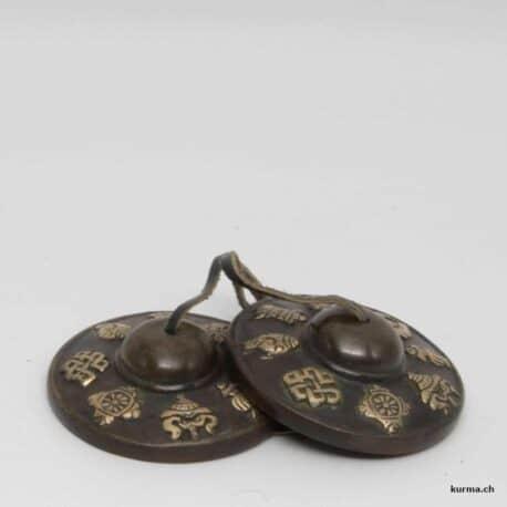 Tingsha noire gravée avec les signes auspicieux du bouddhisme