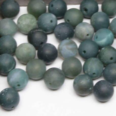 Agate mousse matte perles de 10mm