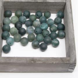 Agate Mousse mate – Perles 10-10.5mm – N°8109