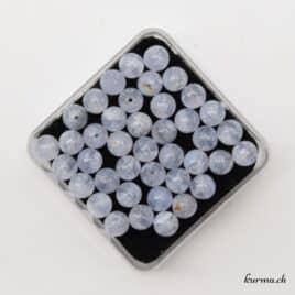Perles Calcédoine bleu 6mm