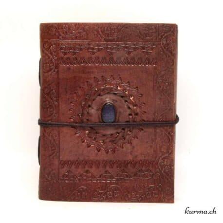 livre de voyage en cuir naturel avec une magnifique pierre en lapis lazuli