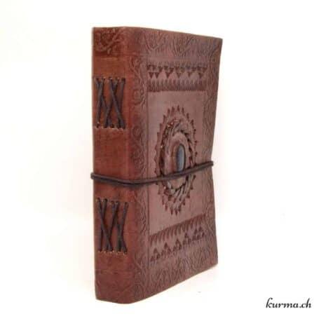 livre de voyage en cuir avec lapis lazuli