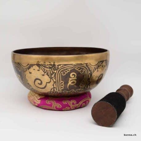 bol tibétain 7 métaux gravé avec maillet en cuir