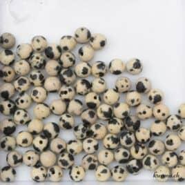 Perles Jaspe dalmatien mat 5mm