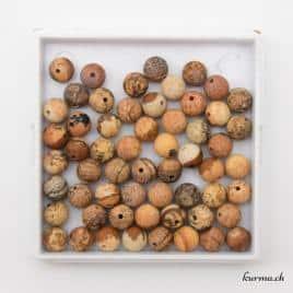 Perles en jaspe paysage mat 6mm
