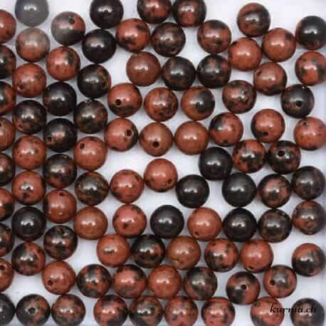 Perles obsidienne acajou
