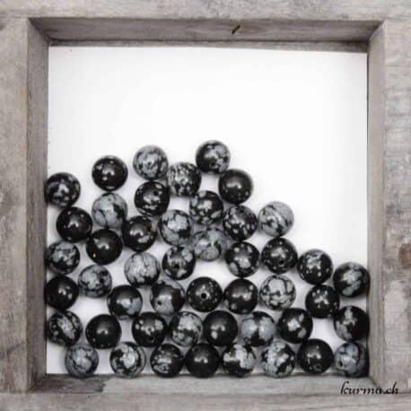 Achat perles obsidienne flocon de neige