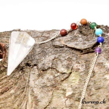acheter Pendule 7 chakra et cristal de roche dans la boutque de radiesthésie Suisse