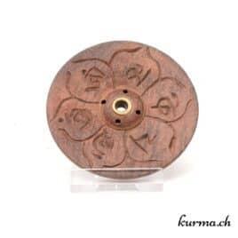 Porte-encens en bois – Om Mani – 7cm – N°4127.3