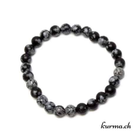 bracelet en obsidienne flocon de neige