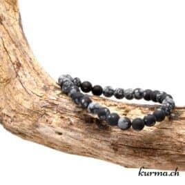 bracelet en obsidienne flocon de neige matte 6mm