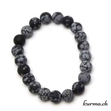 bracelet obsidienne flocon de neige matte