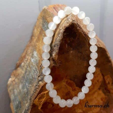 Bracelet Pierre de lune blanche 6mm