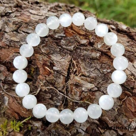 Bracelet Pierre de lune blanche 8mm