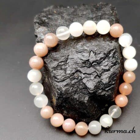 Bracelet en Pierre de lune blanche et abricot 8mm