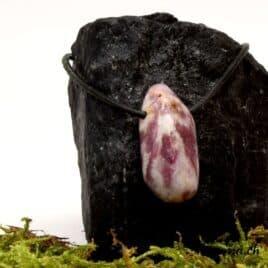 Pendentif en Tourmaline rose sur quartz