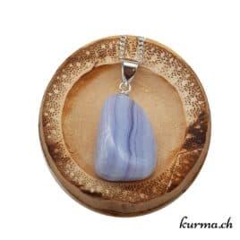 Calcédoine bleue collier en argent
