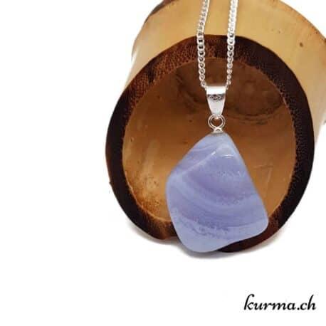 Calcédoine bleue pendentif en argent