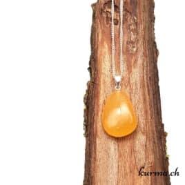 Calcite orange collier en argent