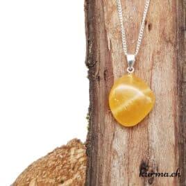 Calcite orange pendentif en argent