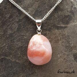 Opale rose des Andes pendentif en argent